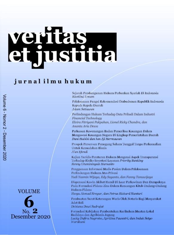 View Vol. 6 No. 2 (2020): Veritas et Justitia