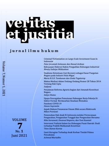 View Vol. 7 No. 1 (2021): Veritas et Justitia