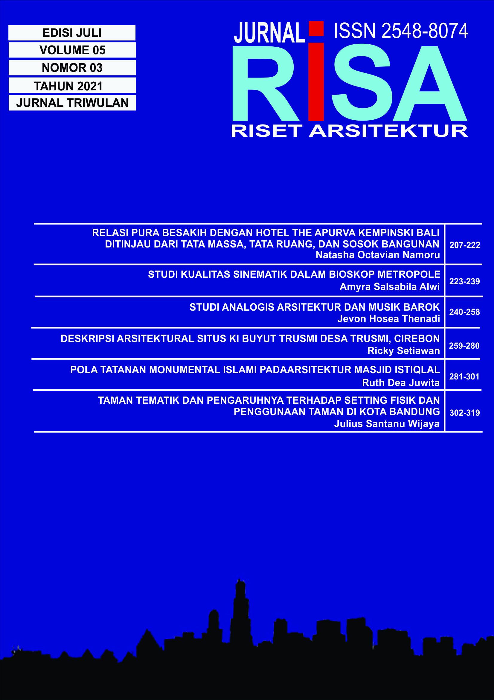 """Lihat Vol 5 No 03 (2021): RISET ARSITEKTUR """"RISA"""""""