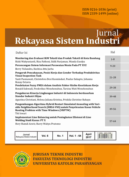 View Vol. 6 No. 1 (2017): Jurnal Rekayasa Sistem Industri