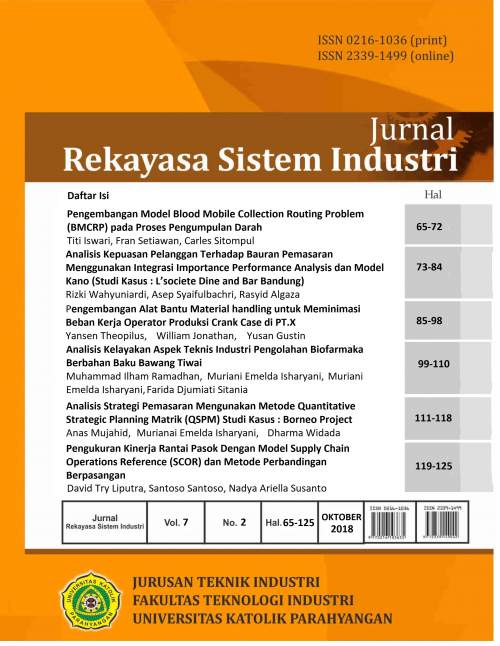 View Vol. 7 No. 2 (2018): Jurnal Rekayasa Sistem Industri