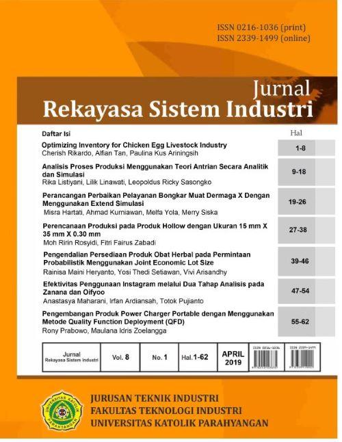 Jurnal Rekayasa Sistem Industri Vol. 8 No.1 Tahun 2019