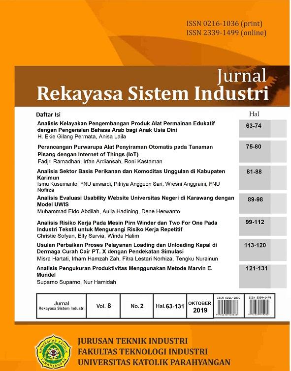 View Vol. 8 No. 2 (2019): Jurnal Rekayasa Sistem Industri