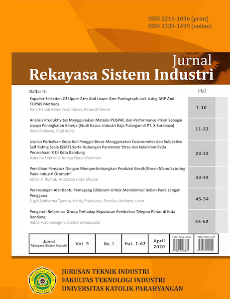 View Vol. 9 No. 1 (2020): Jurnal Rekayasa Sistem Industri
