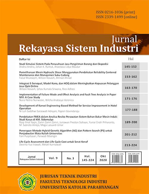 View Vol. 9 No. 3 (2020): Jurnal Rekayasa Sistem Industri Vol. 9 No. 3